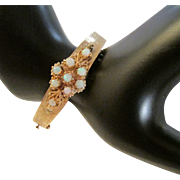 Vintage Opal and 14 Karat Gold Hinged Bracelet with Florentine Finish