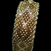 14 Kt Gold Diamond Flip Top Hidden Watch Ladies Gold Bracelet Wristwatch by Ernest Borel