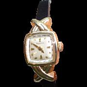 1952 Ladies 10 Kt Gold Bulova  Wristwatch Hug Style Lugs