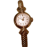 """1958 Bulova 14K Solid  Gold Ladies Wristwatch Solid Gold Band 7"""""""