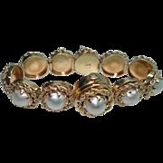 14 Kt Gold Art Deco Ladies Baroque Pearl Hidden Flip Top Wristwatch