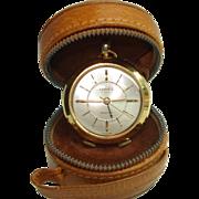 Ernest Borel Travel Purse Alarm Pocket Watch Leather Case