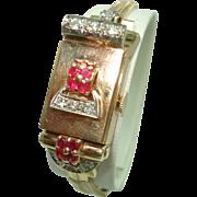 Art Deco 14 Kt Solid Gold Flip Top Ladies Diamond Ruby Wristwatch