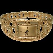 14 KT Gold Vintage Bracelet Watch by Geneve 17 Jewel Swiss Mechanical