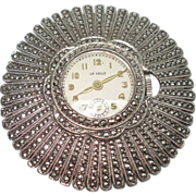 Sterling Silver Sunburst  Marcasite Vintage Lapel Watch Pin