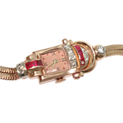SALE 14Kt Rose Gold Diamond Ruby Art Deco Ladies Wristwatch Solid Gold Double Snake Band