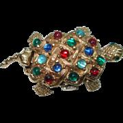 Vintage Turtle Cabochon  Stone Flip Top Peek a Boo Mechanical Hand Winding Watch Pin
