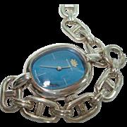 Bucherer Ladies Vintage Blue Dial  Wristwatch 800 Silver