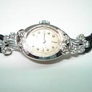 Vintage Ladies 14 Karat Gold Diamond  Wittnauer Wristwatch