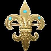 Victorian Fleur De Lis 14Kt Gold Cabochon Turquoise Lapel Watch Pin