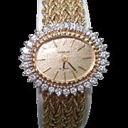 14Kt Gold Geneve Diamond Bezel Ladies Wristwatch Matching 14 kt Gold Bracelet Band