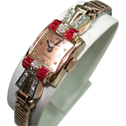 Art Deco 14 Kt Rose Gold Ruby Diamond Gruen Ladies Antique