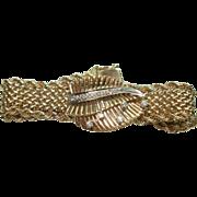 Vintage14 Kt Gold Ladies Hamilton Diamond Flip Top Hidden Wristwatch 14KT Gold Mesh Band