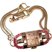 14Kt Rose Gold Diamond Ruby Art Deco Ladies Wristwatch Solid Gold Double Snake Band