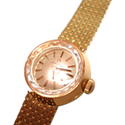 18 Kt Gold Omega Ladies Vintage Hand Winding  Wristwatch  with Matching 18KT Gold Band
