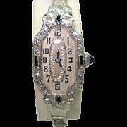 Art Deco Platinum Sapphire Diamond 18Kt Gold Ladies Wristwatch