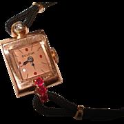 14Kt Rose Gold Ruby Diamond Bulova Vintage Ladies Wristwatch