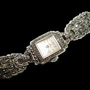 Bucherer by Rolex Ladies Vintage  Marcasite Mechanical Wristwatch