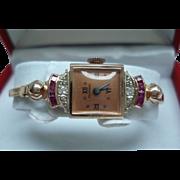 14 Kt Rose Gold Ruby Diamond Vintage Tourneau Mechanical Ladies Wristwatch