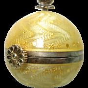 Antique Geneve Enamel Sterling Silver Yellow Guilloche Ball  Pendant Watch