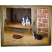 """SOLD Fine Quality Oil Painting """"Who Goes There"""" Kitten & Puppies By Alan Butterworth"""