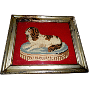 SOLD Needlepoint Of Spaniel On Cushion c1880