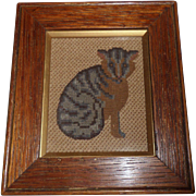 SOLD Small Victorian Cat Needlepoint c1880 - Red Tag Sale Item