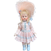 SOLD Pretty Bisque Dolls House Doll Blue Boots c1915