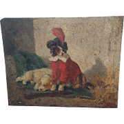 SOLD Charming Oil Vincent De Vos King Charles Puppy Cavalier Outfit c1860
