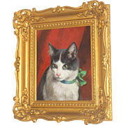 SOLD Fine Quality Oil Painting Of Cat Signed D.Clark