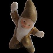 Golden Gnome Bisque Cake Decoration c1920
