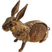 SOLD Lovely Gilt Metal Hare Pin Cushion c1910