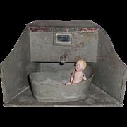 Unusual Tin Bathroom With Tub c1910