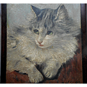 SOLD Beautiful Oil Painting Of A Cat c1905