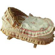 Old Linen Covered Small Rocking Crib
