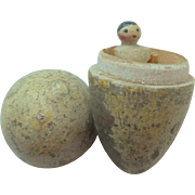 SOLD Smallest Doll In The World Wooden Peg Doll In Egg c1910