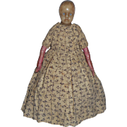 SOLD Early Poured Wax Doll In Print Dress c1840