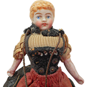 Sweet Bisque Dolls House Doll c1890