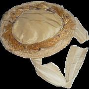 Antique Wired Silk Dolls Hat c1870