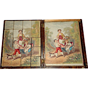 Delightful 1860's Picture Blocks In Box Small Size