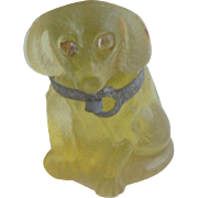 Glass Czech Dachshund With Sparkling Eyes For Dolls House c1915