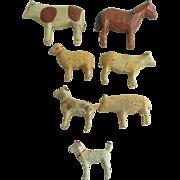 Tiny Wooden Erzgebirge Animals c1915