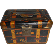 Miniature German Tin Cabin Trunk c1915