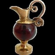 Victorian Jug Glass & Gilt & Metal Charm c1890