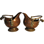 Ca. 1940's Absolutely Cute Sibling Helmet Copper Planters