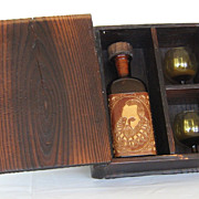 SOLD Handmade Wooden Vintage Gift Box with 2 Handmade Brown Glass Glasses and a Bottle.