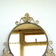 SOLD 1920's  Pretty French Mirror in Iron Maple Leaves Frame