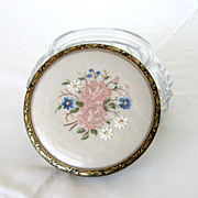 SOLD 1930's Powder Jar – Embroidery Lid