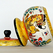 Beautiful Vintage Handpainted Wooden Jar