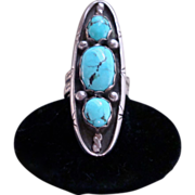 Elongated  Zuni Turquoise and Silver Ring